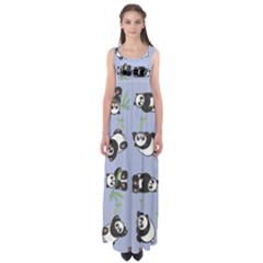 Panda Tile Cute Pattern Blue Empire Waist Maxi Dress