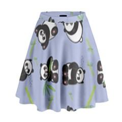 Panda Tile Cute Pattern Blue High Waist Skirt