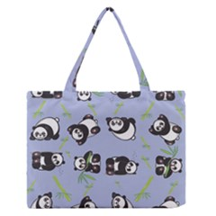 Panda Tile Cute Pattern Blue Medium Zipper Tote Bag