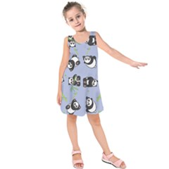 Panda Tile Cute Pattern Blue Kids  Sleeveless Dress