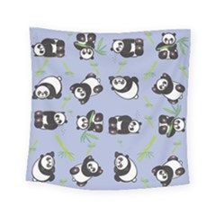 Panda Tile Cute Pattern Blue Square Tapestry (small)