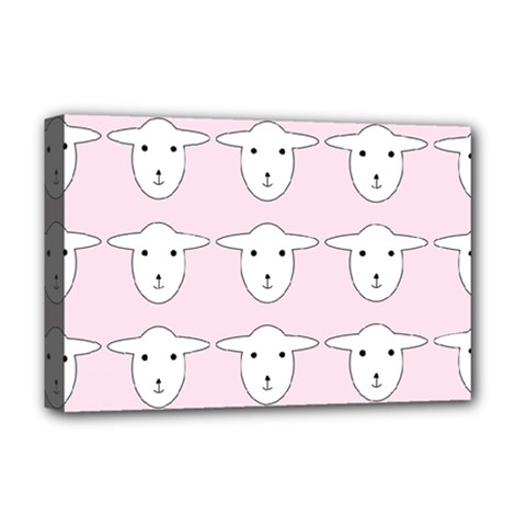 Sheep Wallpaper Pattern Pink Deluxe Canvas 18  X 12