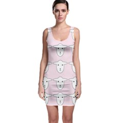 Sheep Wallpaper Pattern Pink Sleeveless Bodycon Dress