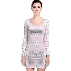 Sheep Wallpaper Pattern Pink Long Sleeve Bodycon Dress