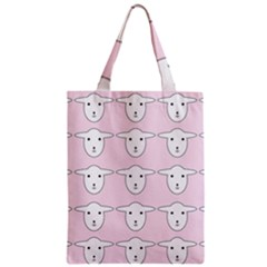 Sheep Wallpaper Pattern Pink Zipper Classic Tote Bag