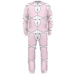 Sheep Wallpaper Pattern Pink Onepiece Jumpsuit (men)