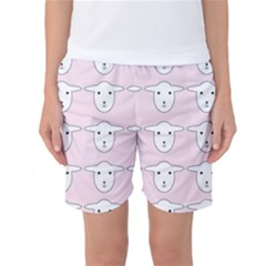 Sheep Wallpaper Pattern Pink Women s Basketball Shorts