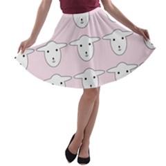 Sheep Wallpaper Pattern Pink A Line Skater Skirt