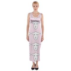 Sheep Wallpaper Pattern Pink Fitted Maxi Dress