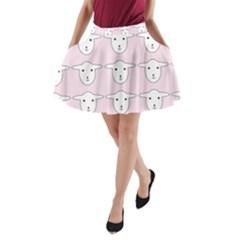 Sheep Wallpaper Pattern Pink A Line Pocket Skirt