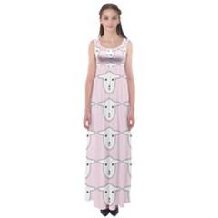 Sheep Wallpaper Pattern Pink Empire Waist Maxi Dress