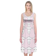 Sheep Wallpaper Pattern Pink Midi Sleeveless Dress