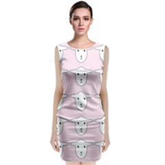 Sheep Wallpaper Pattern Pink Classic Sleeveless Midi Dress