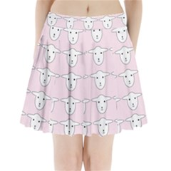 Sheep Wallpaper Pattern Pink Pleated Mini Skirt