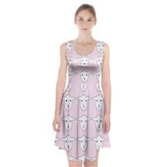 Sheep Wallpaper Pattern Pink Racerback Midi Dress