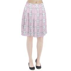 Sheep Wallpaper Pattern Pink Pleated Skirt