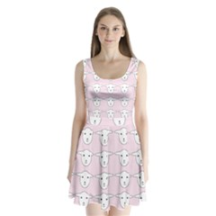 Sheep Wallpaper Pattern Pink Split Back Mini Dress