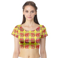 Funny Faces Short Sleeve Crop Top (tight Fit)