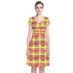 Funny Faces Short Sleeve Front Wrap Dress