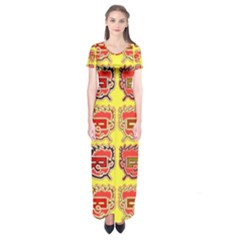 Funny Faces Short Sleeve Maxi Dress