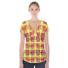 Funny Faces Short Sleeve Front Detail Top
