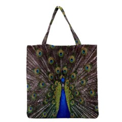 Bird Peacock Display Full Elegant Plumage Grocery Tote Bag