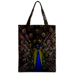 Bird Peacock Display Full Elegant Plumage Zipper Classic Tote Bag