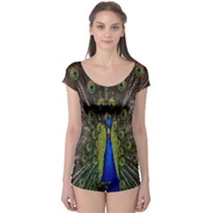 Bird Peacock Display Full Elegant Plumage Boyleg Leotard