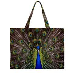 Bird Peacock Display Full Elegant Plumage Large Tote Bag