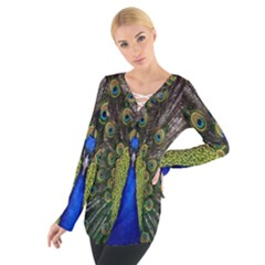 Bird Peacock Display Full Elegant Plumage Women s Tie Up Tee