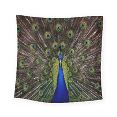 Bird Peacock Display Full Elegant Plumage Square Tapestry (small)