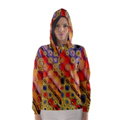 Background Texture Pattern Hooded Wind Breaker (Women)