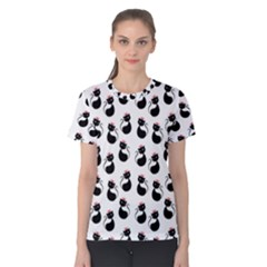 Cat Seamless Animal Pattern Women s Cotton Tee