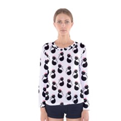 Cat Seamless Animal Pattern Women s Long Sleeve Tee
