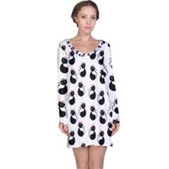 Cat Seamless Animal Pattern Long Sleeve Nightdress