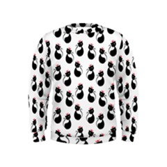 Cat Seamless Animal Pattern Kids  Sweatshirt