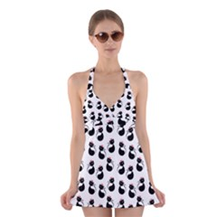 Cat Seamless Animal Pattern Halter Swimsuit Dress