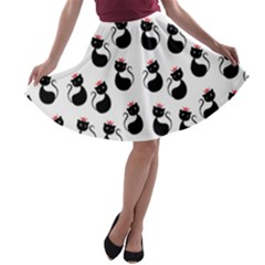 Cat Seamless Animal Pattern A Line Skater Skirt