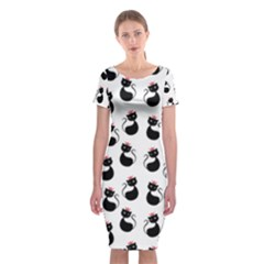 Cat Seamless Animal Pattern Classic Short Sleeve Midi Dress