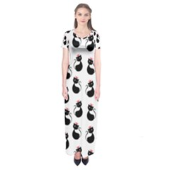 Cat Seamless Animal Pattern Short Sleeve Maxi Dress