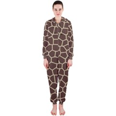 Leather Giraffe Skin Animals Brown Hooded Jumpsuit (Ladies)