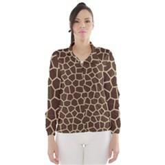 Leather Giraffe Skin Animals Brown Wind Breaker (Women)