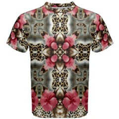Flowers Fabric Men s Cotton Tee