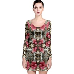 Flowers Fabric Long Sleeve Bodycon Dress