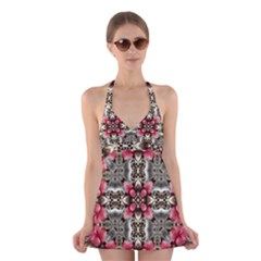 Flowers Fabric Halter Swimsuit Dress