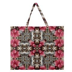 Flowers Fabric Zipper Large Tote Bag