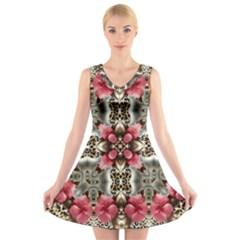Flowers Fabric V Neck Sleeveless Skater Dress