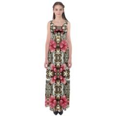 Flowers Fabric Empire Waist Maxi Dress