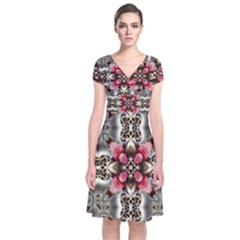 Flowers Fabric Short Sleeve Front Wrap Dress