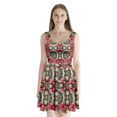 Flowers Fabric Split Back Mini Dress